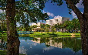 Картинка фото, Дома, Мост, Город, Деревья, США, Florida, Водный канал, International University, Miam
