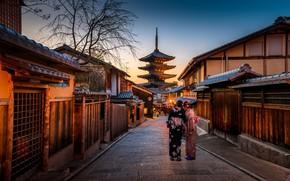 Картинка девушки, улица, вечер, Япония, пагода, Киото, кимано