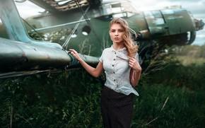 Картинка взгляд, девушка, волосы, самолёт, Анастасия, Макс Кузин