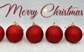 Картинка зима, шарики, снег, сияние, праздник, надпись, шары, Рождество, красные, Новый год, много, ёлочные игрушки, новогодние …
