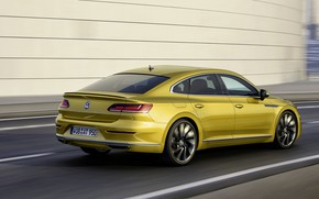 Картинка дорога, жёлтый, стена, Volkswagen, 2018, R-Line, лифтбэк, 2017, Arteon