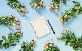 Картинка розы, ручка, блокнот, букеты