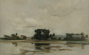 Картинка пейзаж, картина, Пруд, Джон Генри Твахтман, John Henry Twachtman
