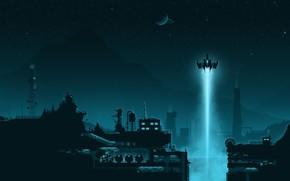 Картинка Минимализм, Ночь, Город, Корабль, Стиль, City, Судно, Fantasy, Архитектура, Art, Запуск, Техника, Style, Night, Фантастика, …