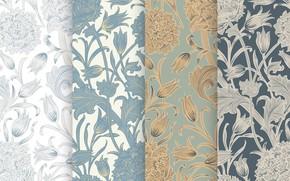Картинка листья, цветы, серый, фон, текстура, Flower, Vintage, Pattern