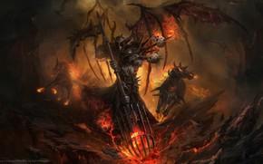 Картинка dark, fire, fantasy, armor, skulls, Warrior, horses, weapons, digital art, artwork, fantasy art, dragons, helmet