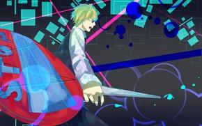 Картинка абстракция, парень, дорожный знак, Durarara, Heiwajima Shizuo, Дюрарара, Шизуо Хейваджима