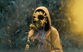 Картинка Girl, Alone, Solitude, Mood, Situation, Sunflowers