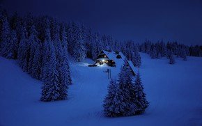 Картинка Зима, Горы, Ночь, Лес, Дом