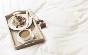 Картинка кофе, Утро, вафли, Завтрак