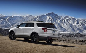 Картинка дорога, белый, снег, горы, вершины, Ford, Sport, SUV, Explorer, 2017, XLT
