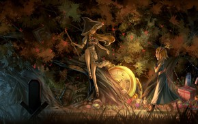 Картинка fantasy, game, forest, trees, hat, anime, night, artwork, Touhou, gifts, clock, fantasy art, witch, Kirisame …