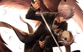 Картинка взгляд, ангел, меч, кукла, аниме, арт, парень, Пугало