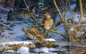 Картинка поза, картина, снег, арт, зима, бревно, природа, живопись, берег, поздняя осень, куропатки, три, водоем, птицы, …