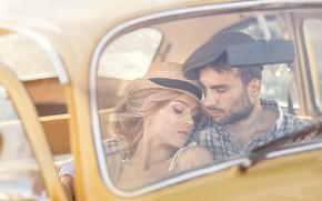Картинка авто, девушка, мужчина, влюбленные, Irina Nedyalkova