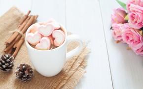 Картинка розы, букет, чашка, сердечки, wood, pink, cup, romantic, hearts, valentine's day, какао, roses, hot chocolate, …