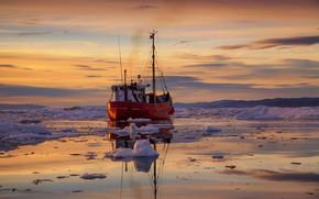 Картинка льды, судно, Гренландия