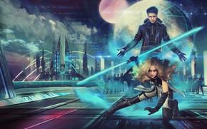 Картинка neron wars, арт, блондинка, планета, город, мужчина, девушка, ночь, фантастика