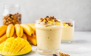 Картинка завтрак, бананы, манго, орехи, Smoothie