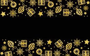 Картинка украшения, золото, узор, Новый Год, Рождество, golden, черный фон, Christmas, background, pattern, New Year, decoration, …