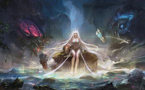 Обои girl, rock, fantasy, game, forest, magic, long hair, water, lake, League of Legends, blonde, digital ...