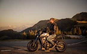 Картинка дорога, лес, мотоцикл, forest, Yamaha, road, motorcycle, ducati, ямаха, дукати, мт-09, mt-09