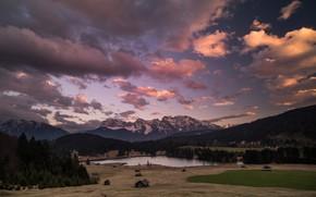 Картинка лес, облака, горы, вечер, Альпы, домики, альпийская деревня