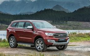 Картинка берег, Ford, водоём, Everest, Limited, 4WD, 2015