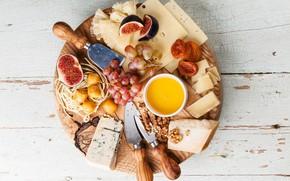 Картинка сыр, виноград, доска, орехи, инжир
