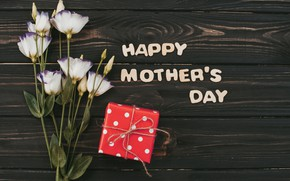 Картинка цветы, подарок, white, happy, wood, flowers, эустома, gift box, mother's day, eustoma