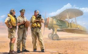 Картинка Великобритания, Raf, Gloster Gladiator, Иван Хивренко, British Pilots In Tropical Uniform (1939-1943), британские пилоты
