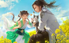 Картинка кошка, кот, цветы, луг, арт, девочка, парень, котёнок, 大葱君