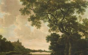 Картинка масло, картина, холст, Йорис ван дер Хаген, 1669, Joris van der Haagen, Пейзаж с Крепостью …