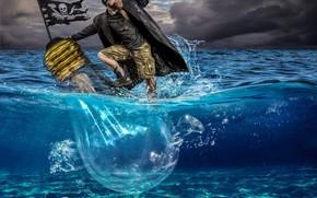 Обои море, лампа, ситуация, флаг, пират, весёлый Роджер