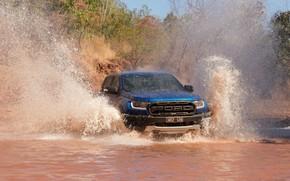Картинка брызги, синий, Ford, Raptor, пикап, водоём, 2018, Ranger
