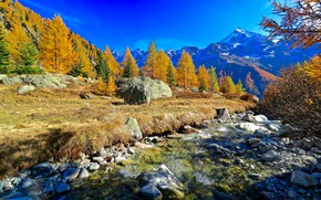 Картинка осень, лес, горы, камни, речка