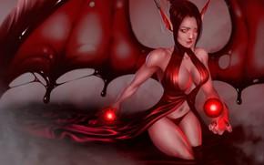 Картинка вода, девушка, крылья, демон