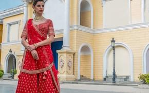 Картинка girl, fashion, eyes, smile, beautiful, model, lips, face, hair, pose, indian, photoshoot, red dress, makeup, …
