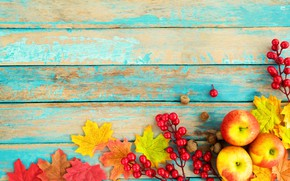 Обои осень, листья, ягоды, фон, дерево, яблоки, colorful, орехи, vintage, wood, background, autumn, leaves, maple