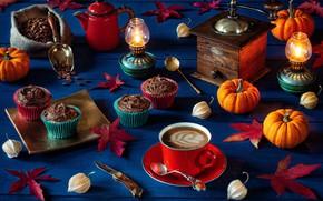 Картинка листья, кофе, свечи, тыквы, кексы, кофемолка, осенний натюрморт