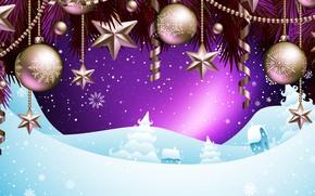 Картинка Снег, Рождество, Снежинки, Фон, Новый год, Праздник, Christmas, Настроение, Snow, New Year, Новогодние украшения, Snowflakes, …