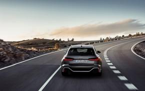 Картинка Audi, сзади, универсал, на дороге, RS 6, 2020, 2019, тёмно-серый, V8 Twin-Turbo, RS6 Avant