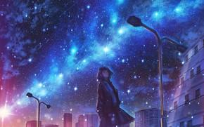 Картинка девушка, ночь, город, млечный путь
