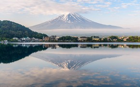 Картинка Природа, Отражение, Озеро, Япония, Гора, Фудзи, Пейзаж