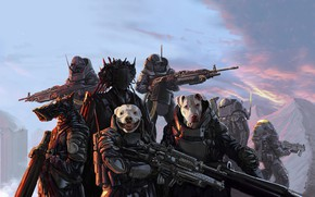 Картинка Dogs, Illustration, Hunters, Characters, Party, Science Fiction, Cyberpunk, Nahuel Gabriel Dimarco Bustos, Hunter Party, by …