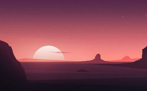 Картинка Закат, Солнце, Минимализм, Гора, Рассвет, Пейзаж, Nature, Арт, Art, Landscape, Sun, Mountain, Sunset, Dawn, Minimalism, …