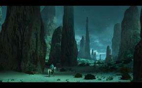 Картинка ночь, скалы, звёзды, всадники, Night Hike