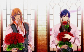 Картинка цветы, аниме, арт, парни, букеты, Uta no Prince-sama