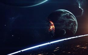 Картинка Звезды, Планета, Космос, Туманность, Взрыв, Планеты, Апокалипсис, Осколки, Planets, Арт, Конец, Stars, Art, Спутник, Planet, …