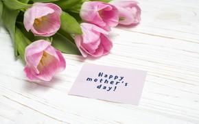 Картинка надпись, букет, тюльпаны, розовые, День матери